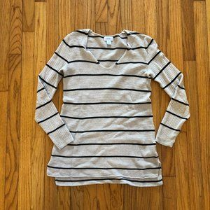 Old Navy V-Neck Textured Tunic Sweater Striped XS